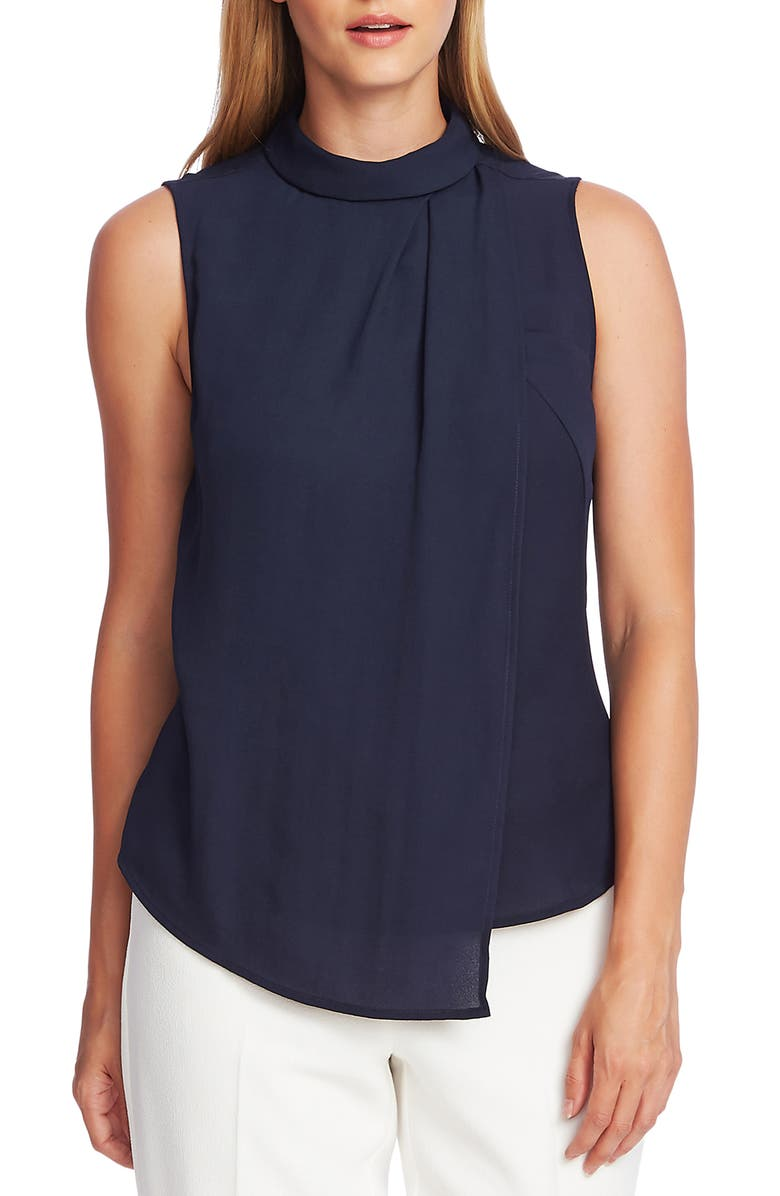 VINCE CAMUTO Rumple Georgette Sleeveless Top, Main, color, CAVIAR