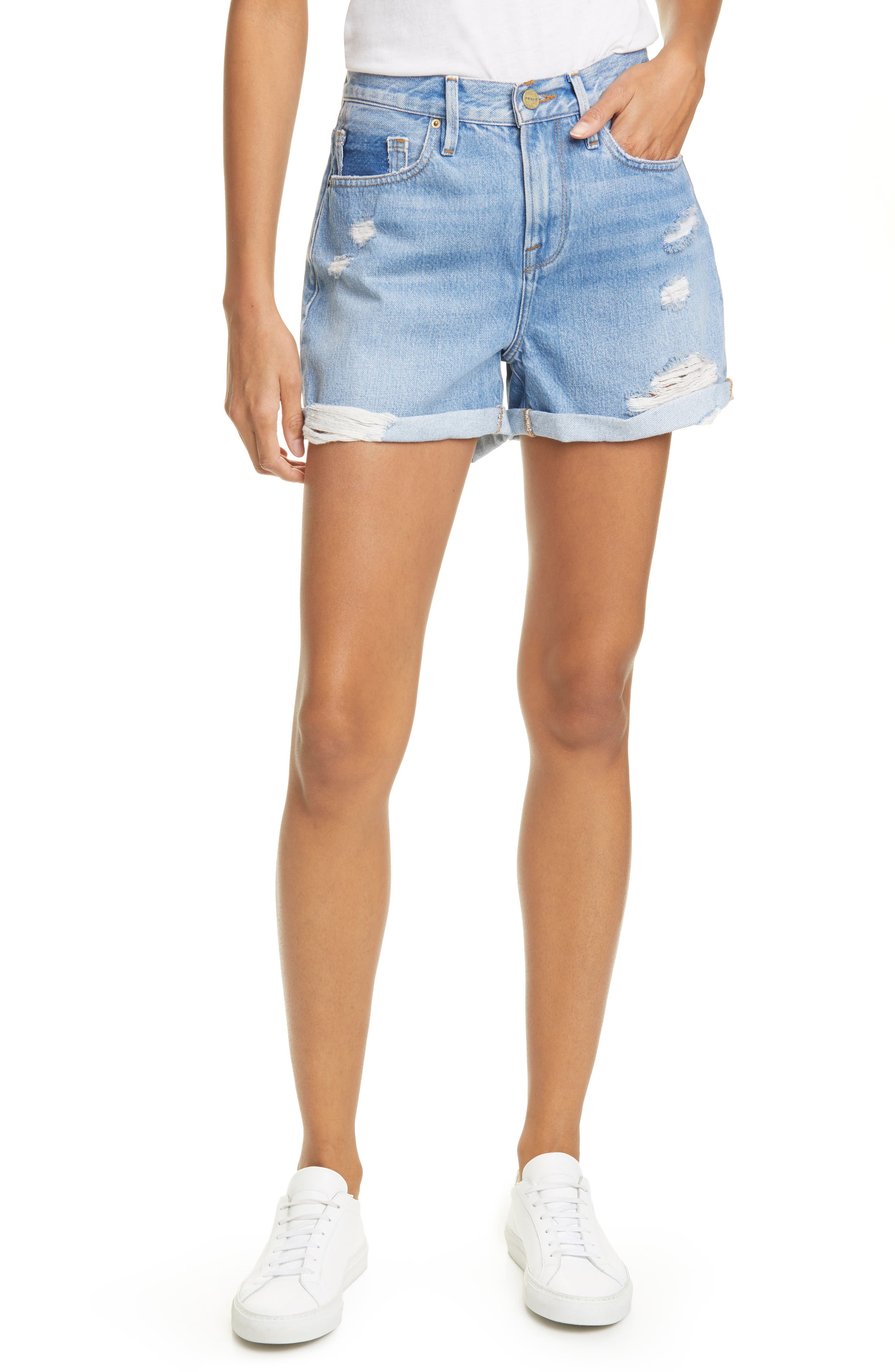 Women's Frame Le Beau Distressed High Waist Denim Shorts