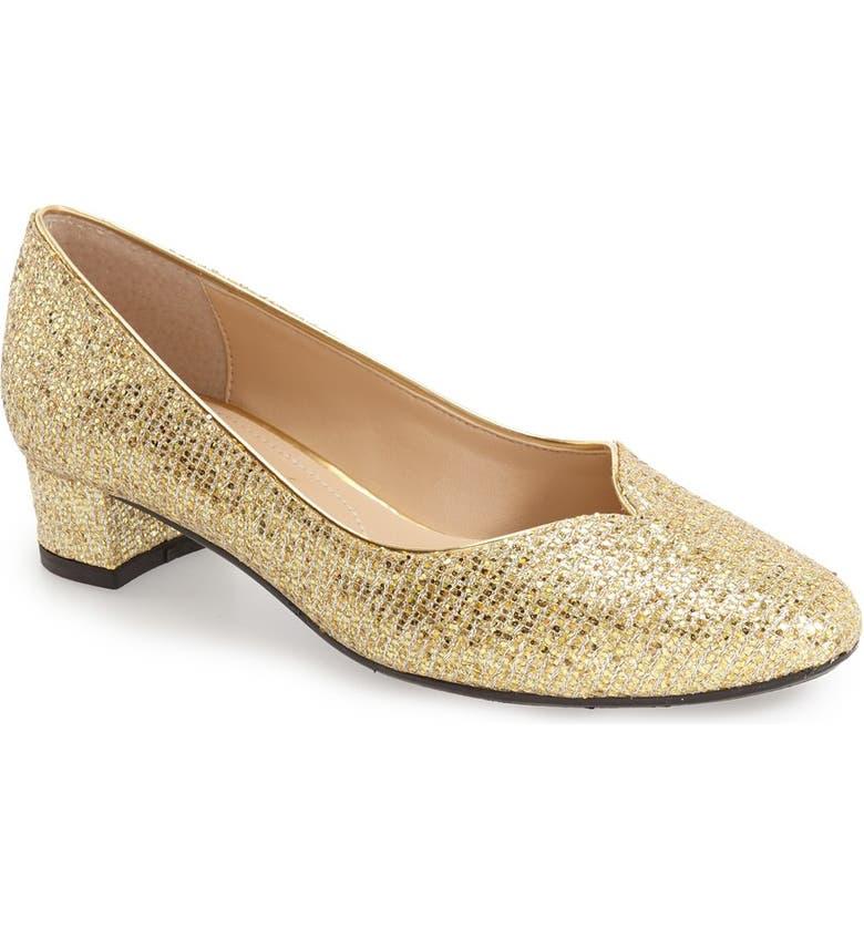 J. RENEÉ 'Bambalina' Block Heel Glitter Pump, Main, color, GOLD GLITTER FABRIC