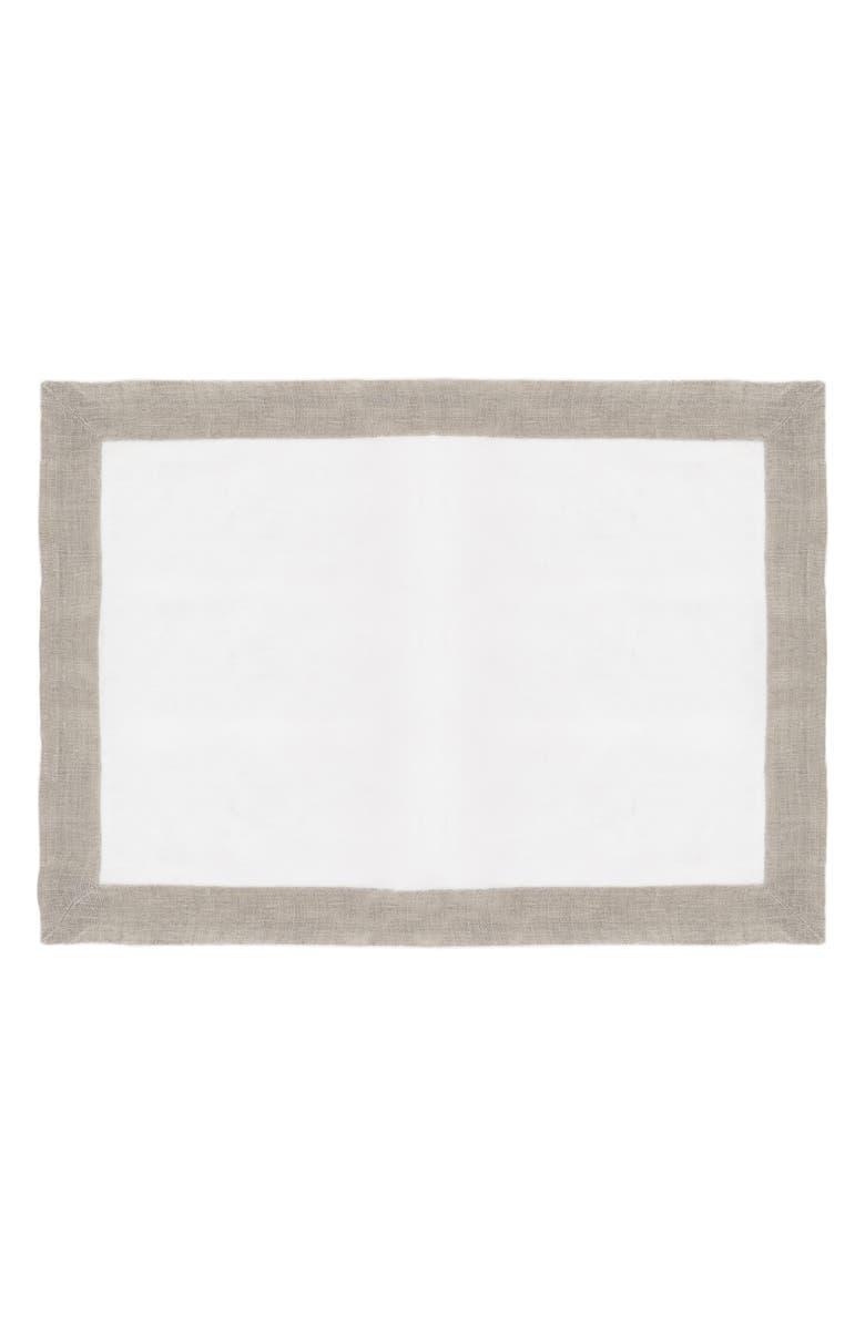 MICHAEL ARAM Set of 2 Linen Placemats, Main, color, WHITE