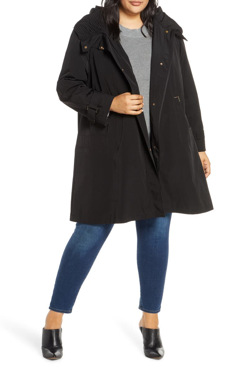GALLERY Pleated Collar Raincoat with Liner, Main, color, BLACK