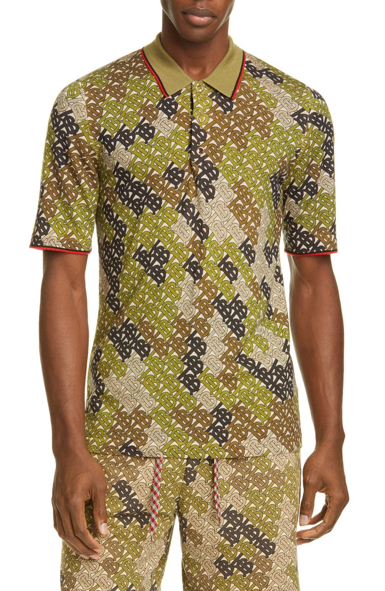 BURBERRY Thorney Monogram Print Tipped Merino Wool Short Sleeve Polo, Main, color, KHAKI