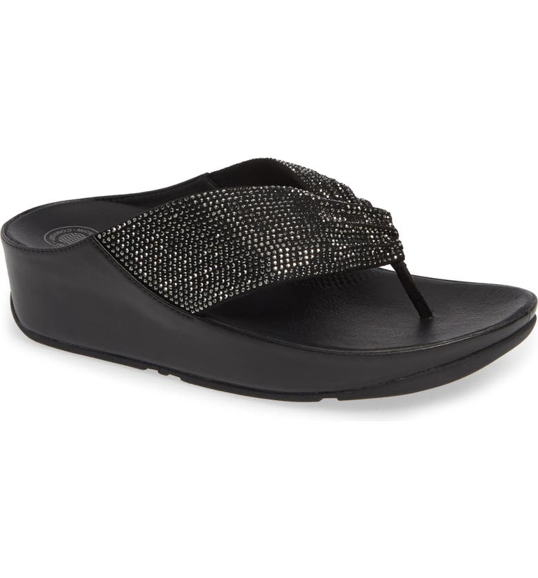 FITFLOP Twiss Crystal Flip Flop, Main, color, BLACK
