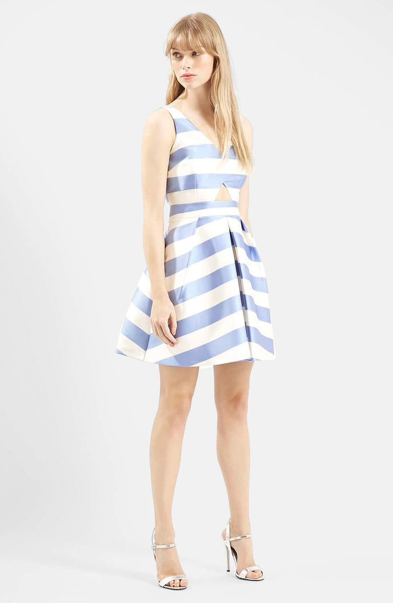 TOPSHOP Stripe V-Neck Cutout Dress, Main, color, 450