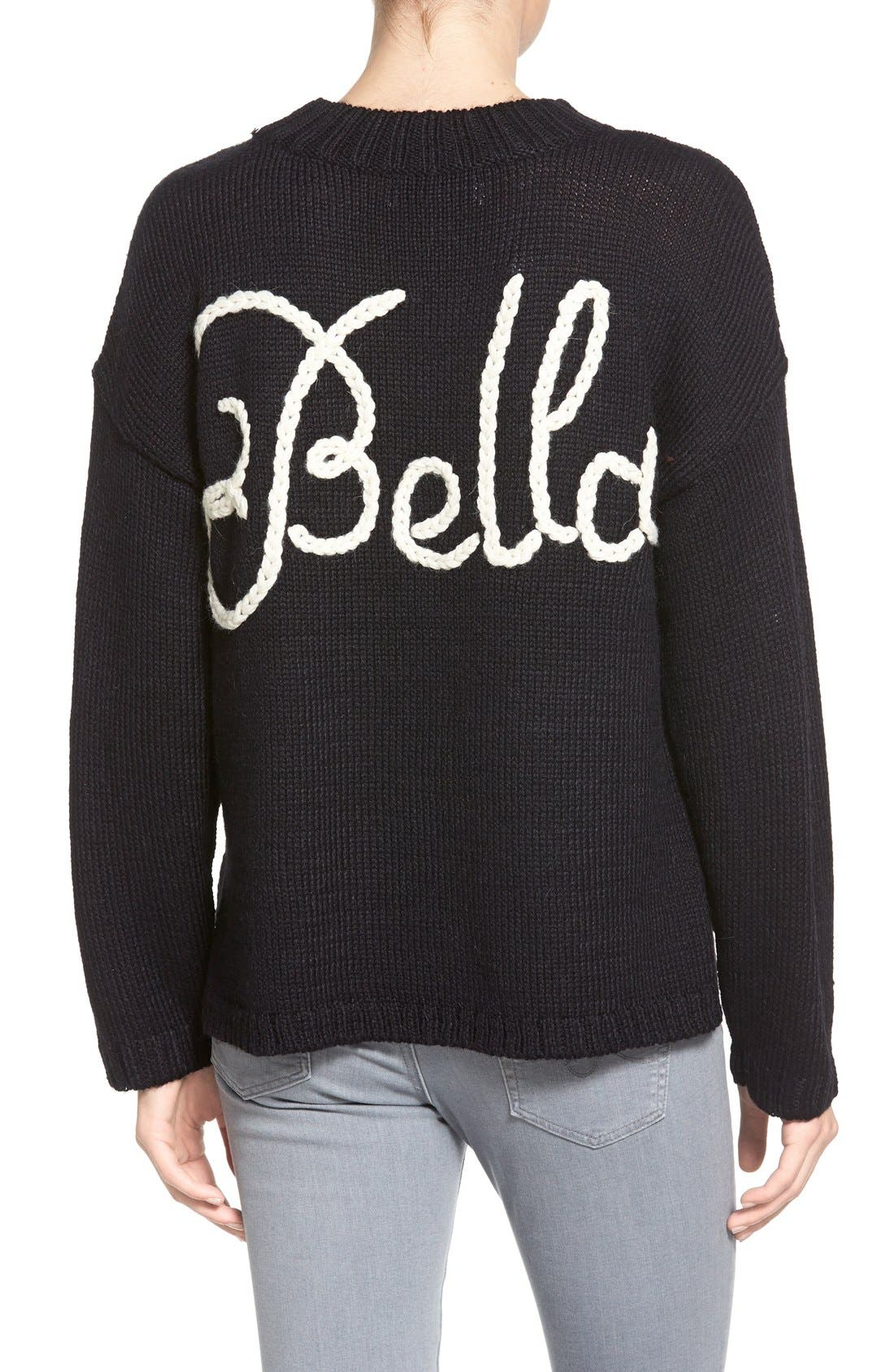 ,                             'Ciao Bella' Pullover Sweater,                             Alternate thumbnail 4, color,                             001