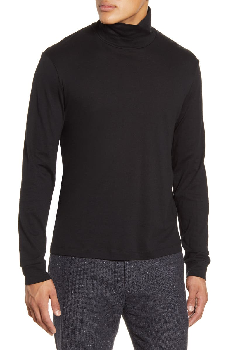 THEORY Turtleneck Cotton & Cashmere T-Shirt, Main, color, BLACK