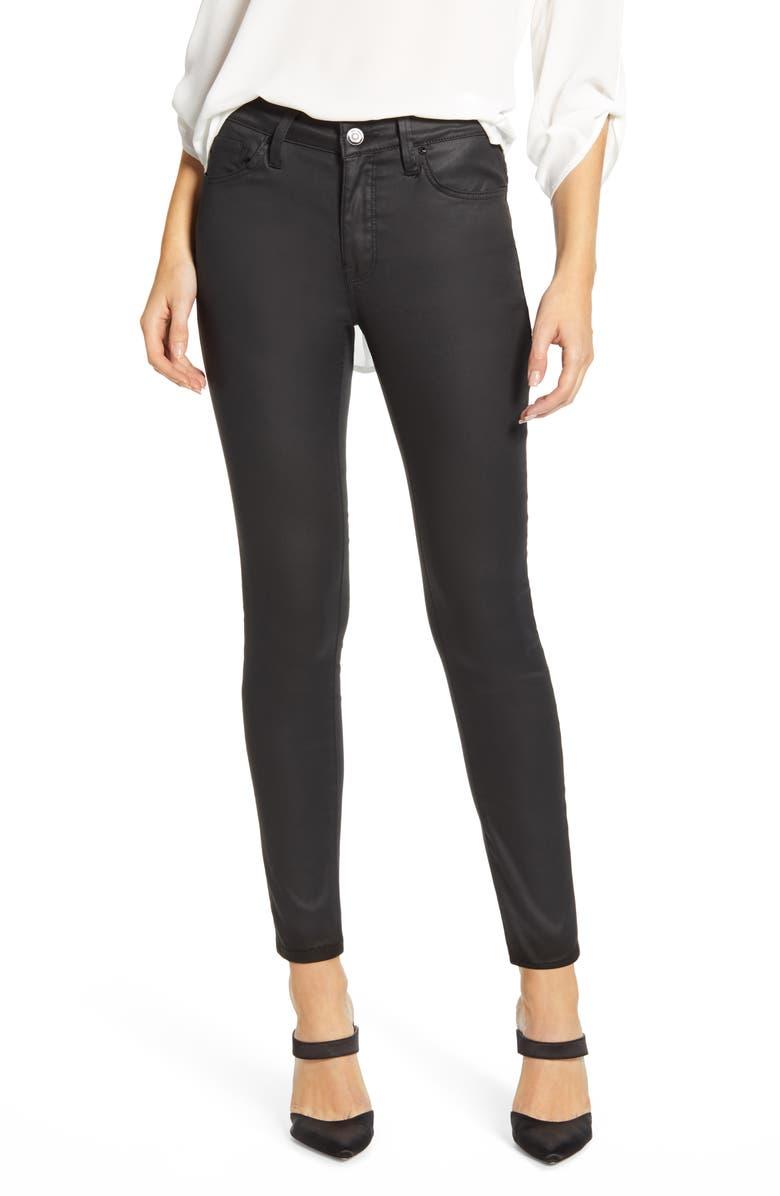 MAVI JEANS Tess Coated Super Skinny Jeans, Main, color, BLACK JEATHER