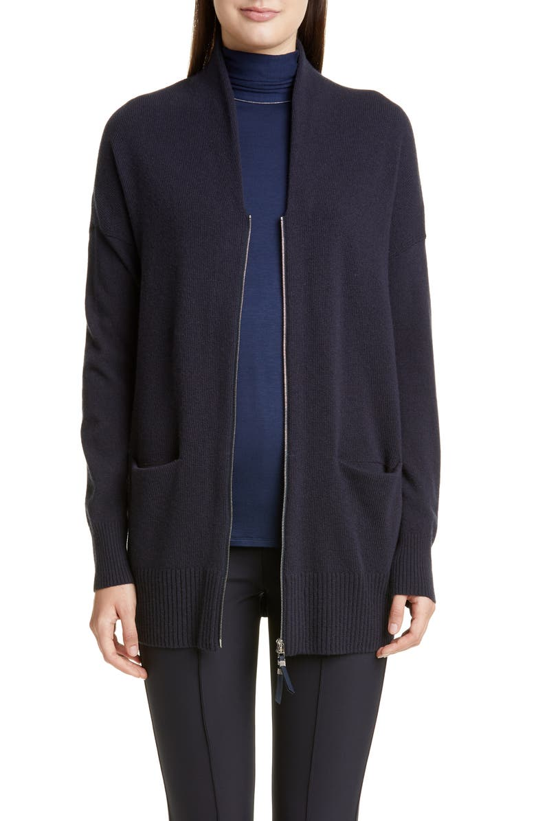 LAFAYETTE 148 NEW YORK Merino Wool & Cashmere Zip Cardigan, Main, color, INK