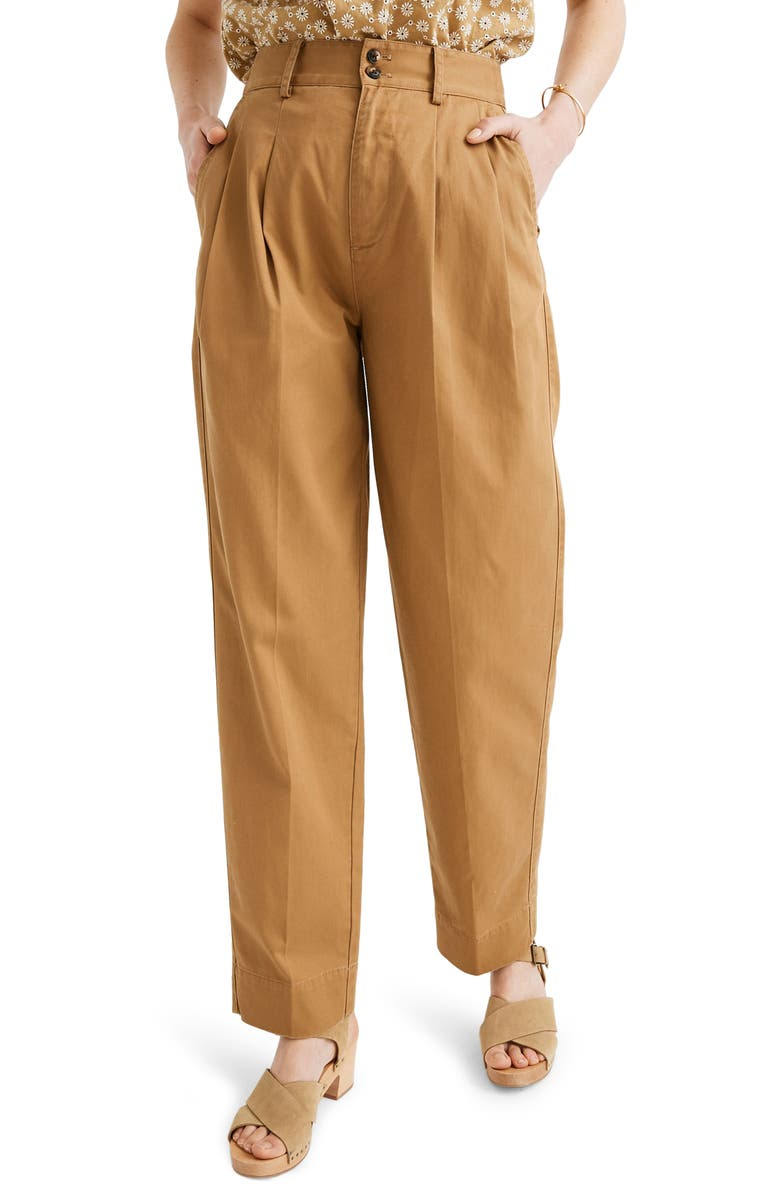 MADEWELL Pleated Taper Wide Leg Pants, Main, color, 205