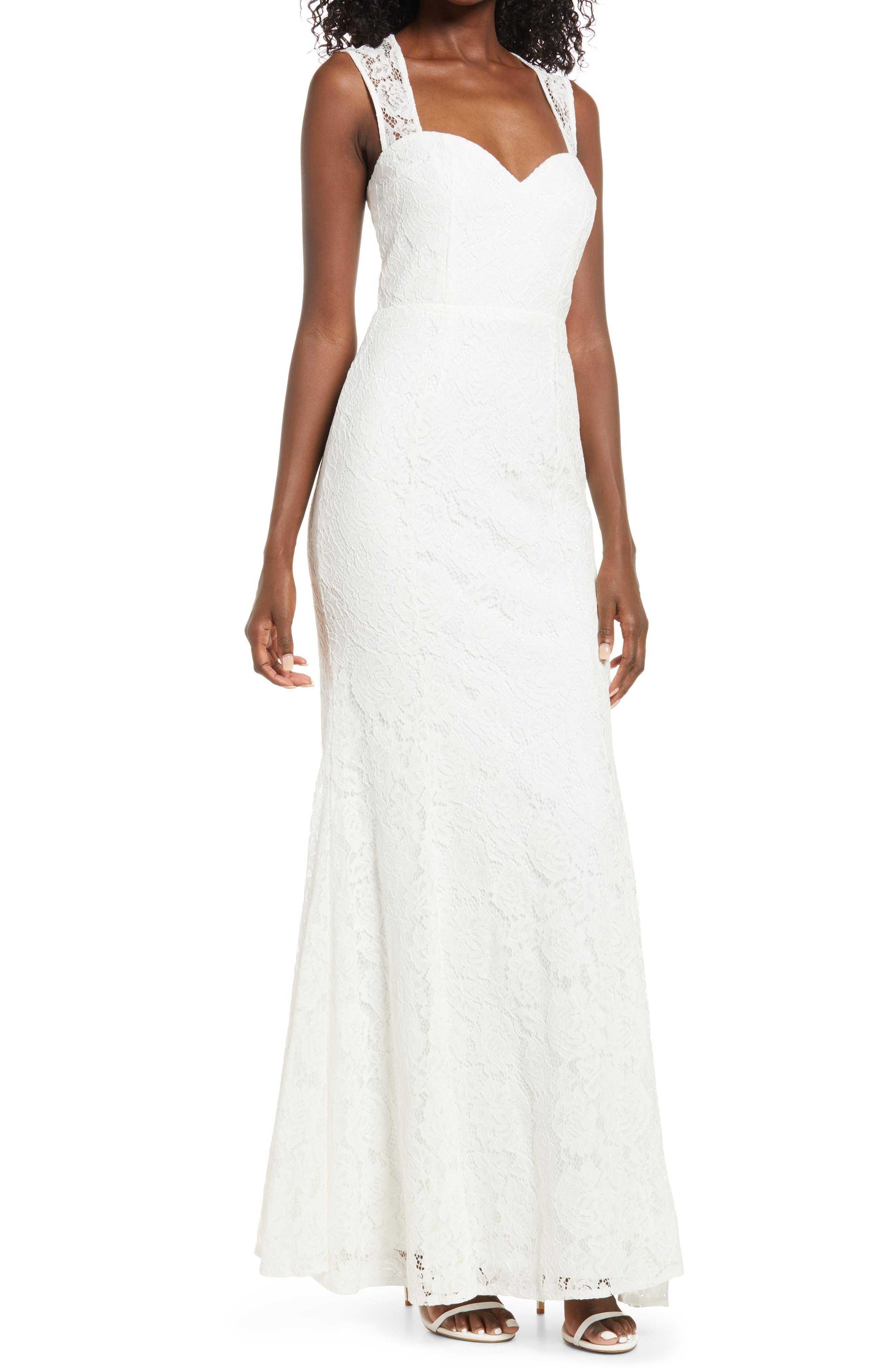 1930s Style Wedding Dresses   Art Deco Wedding Dress Womens Lulus Rosetta Lace Gown Size Small - White $108.00 AT vintagedancer.com