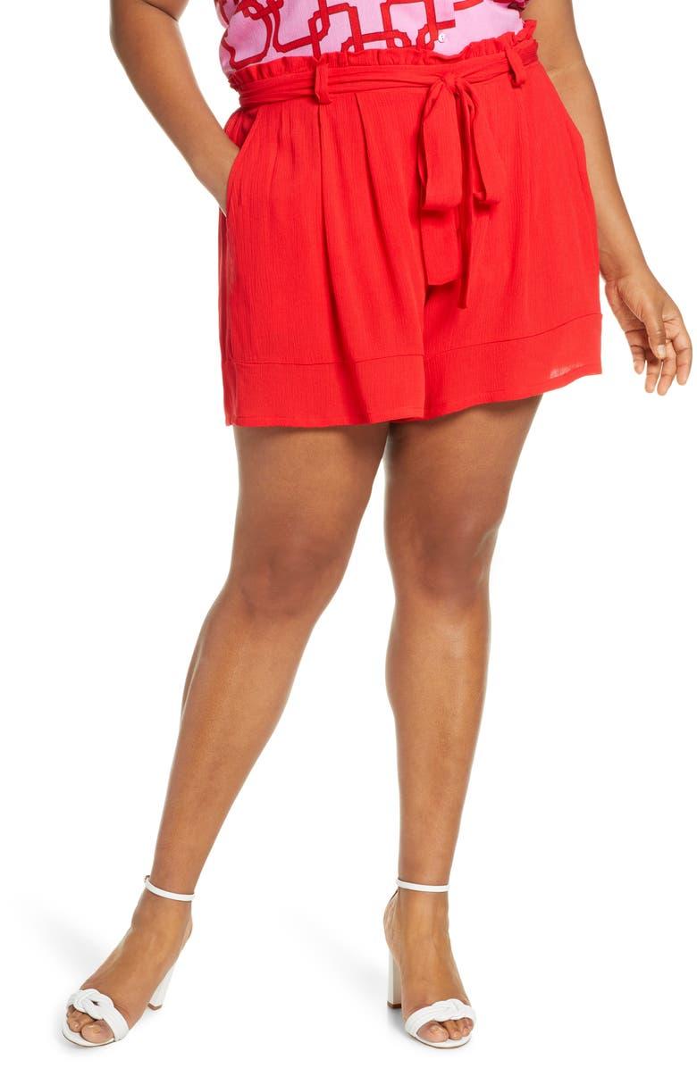 GIBSON x Hi Sugarplum! Menorca Essential Paperbag Shorts, Main, color, RED