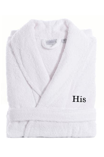 Image of LINUM HOME Embroidered His Terry Bathrobe