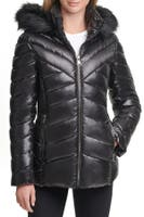Deals on KENNETH COLE Faux Fur Front Zip Puffer Jacket
