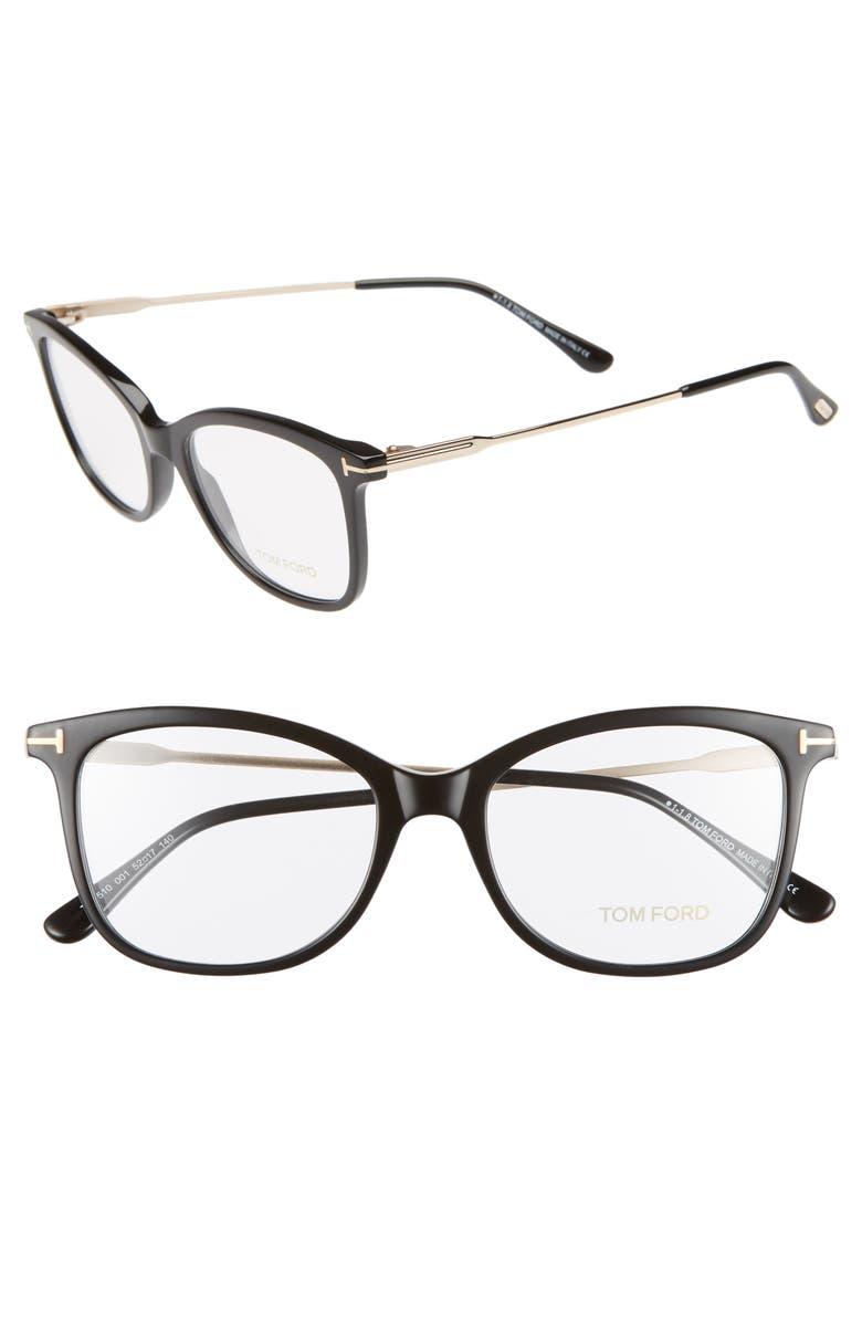 TOM FORD 52mm Round Optical Glasses, Main, color, SHINY BLACK ACETATE