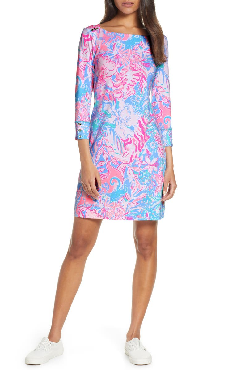 LILLY PULITZER<SUP>®</SUP> Sophie UPF 50+ Shift Dress, Main, color, BLUE PERI VIVA LA LILLY