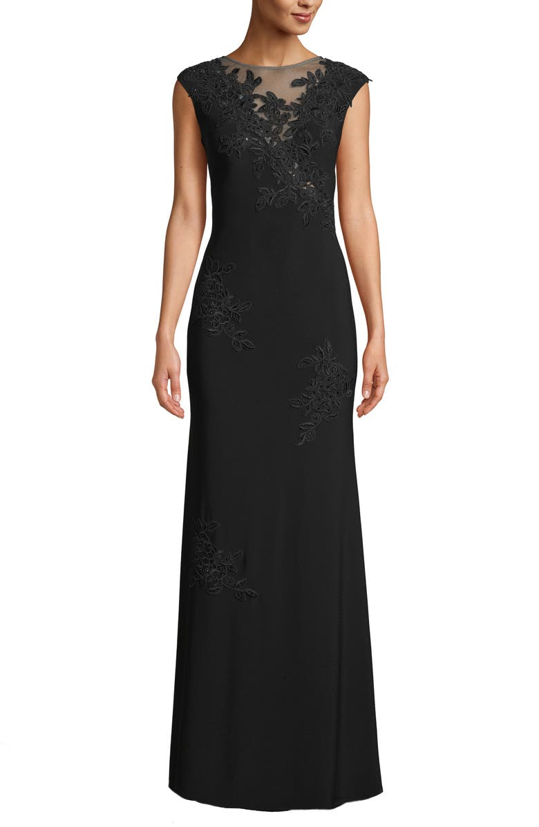 XSCAPE Mesh Inset & Embroidered Evening Dress, Main, color, 001