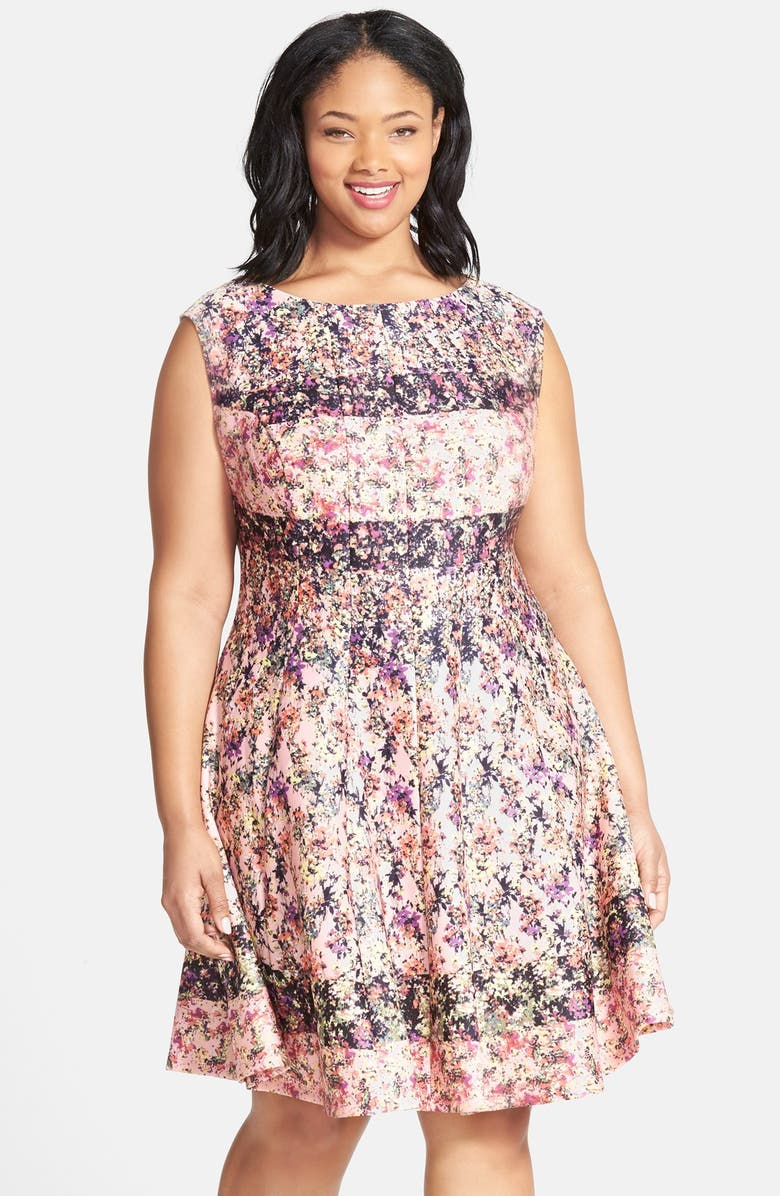 Gabby Skye Floral Print Fit & Flare Dress (Plus Size ...