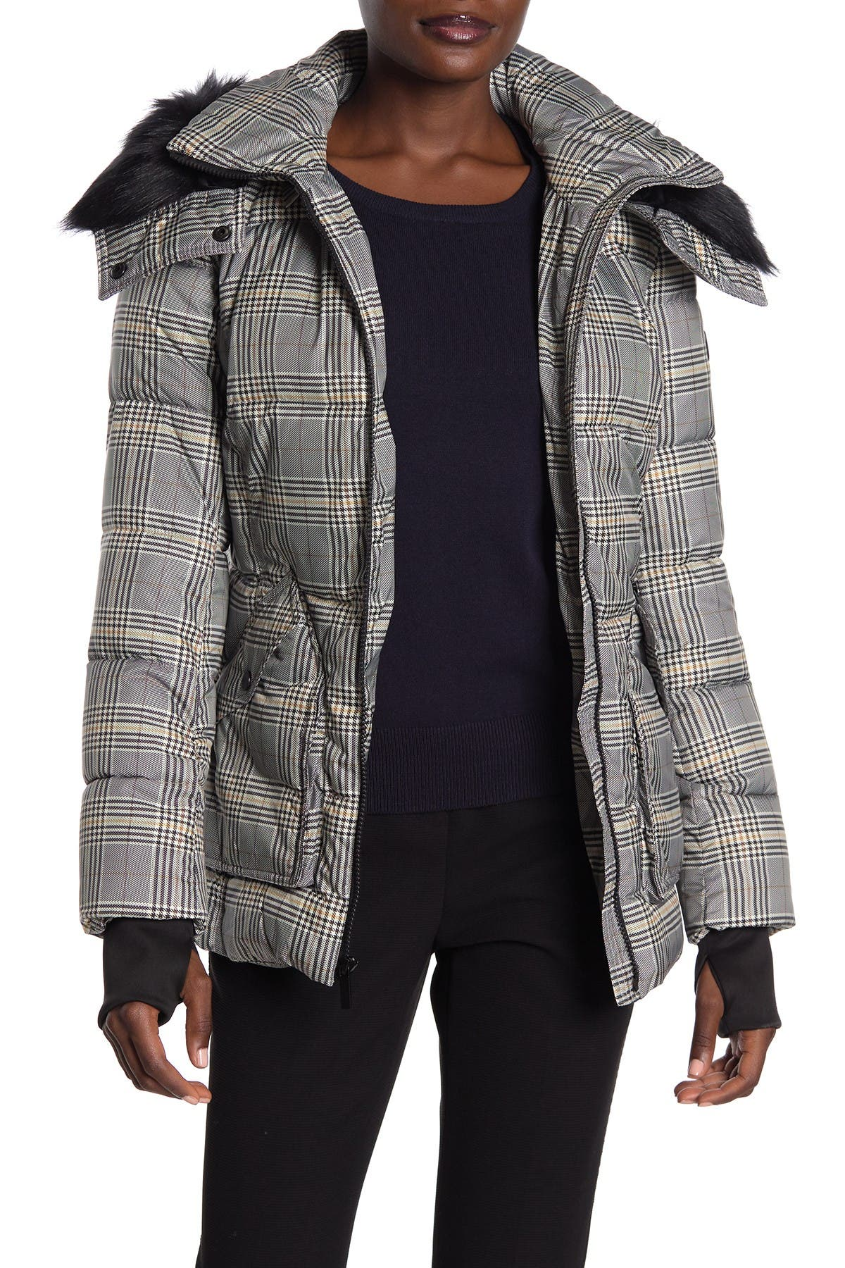 Image of French Connection Plaid Faux Fur Trimmed Quilted Jacket