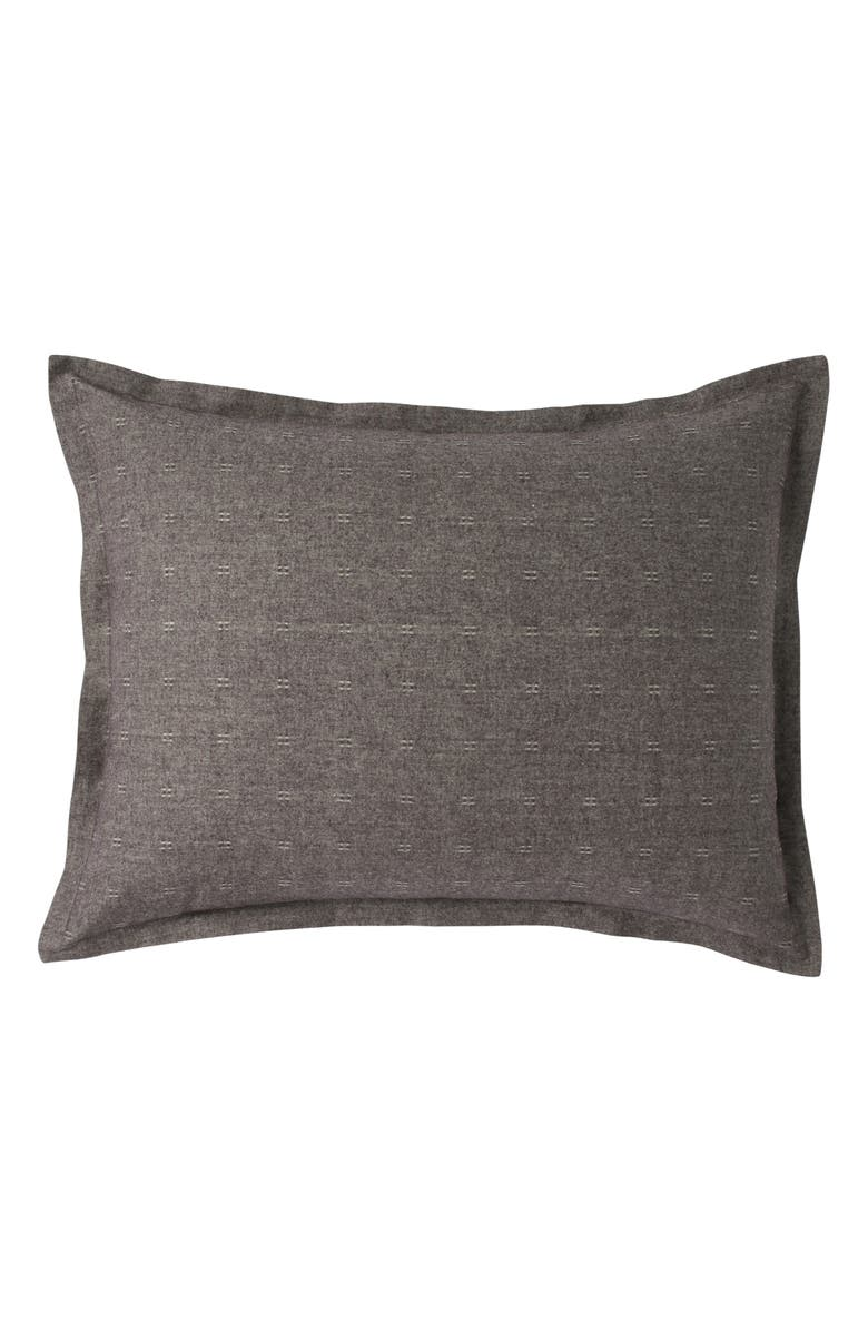 DKNY Pure Flannel Sham, Main, color, CHARCOAL
