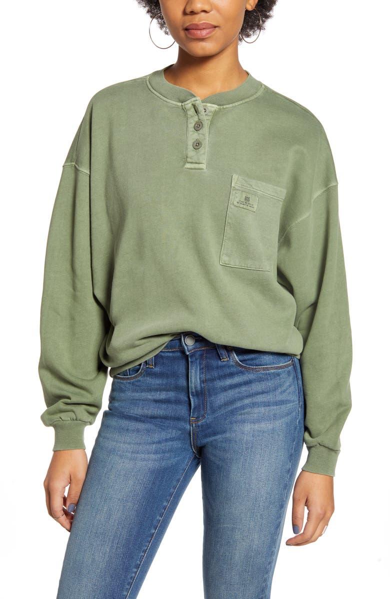 BDG URBAN OUTFITTERS Henley Sweatshirt, Main, color, GREEN SMOKE