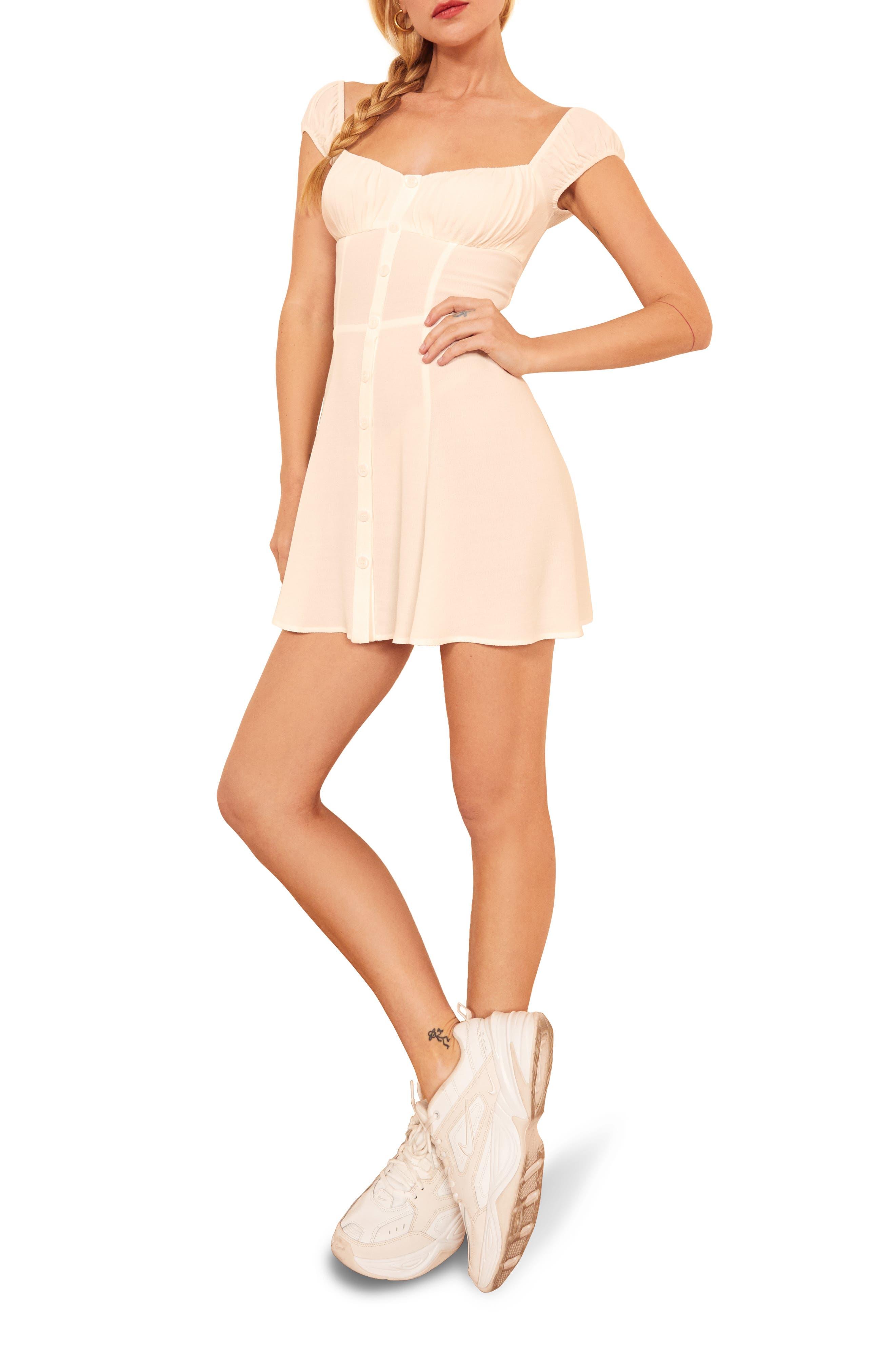 Reformation Isolde Skater Dress, White