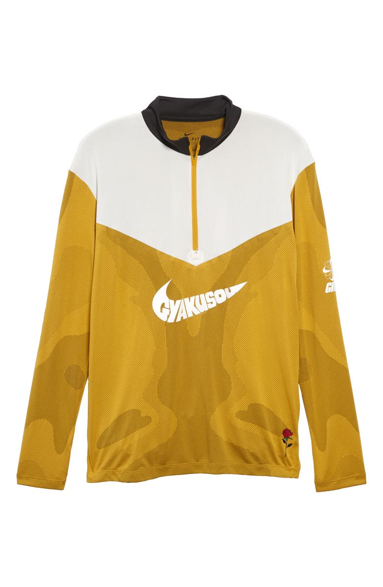 NIKE x Gyakusou Dri-FIT Half Zip Performance Pullover, Main, color, MINERAL YELLOW/ DEEP PEWTER