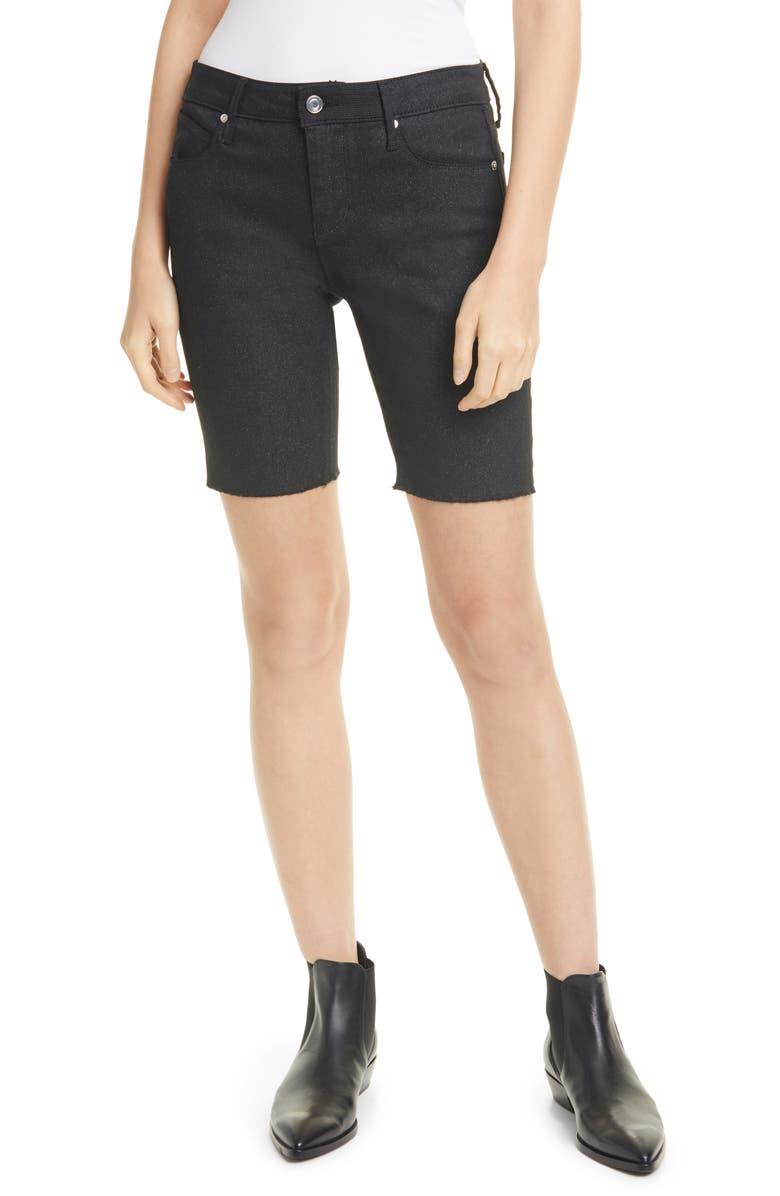 RTA Toure Metallic Coated Denim Shorts, Main, color, ZODIAC BLACK