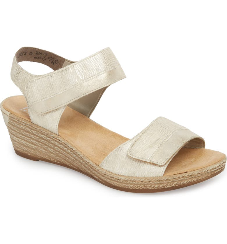 RIEKER ANTISTRESS Fanni 70 Wedge Sandal, Main, color, LIGHT GOLD/ GREY
