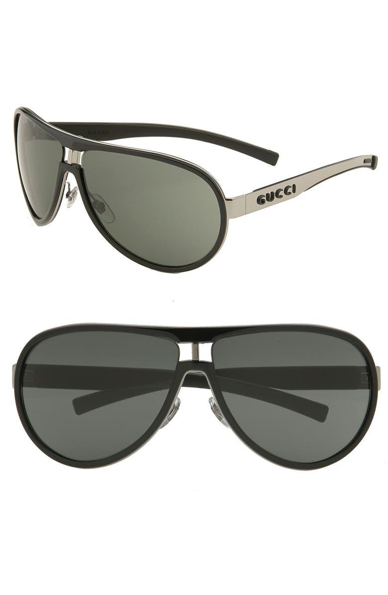 GUCCI Round Metal Aviator Sunglasses, Main, color, 002