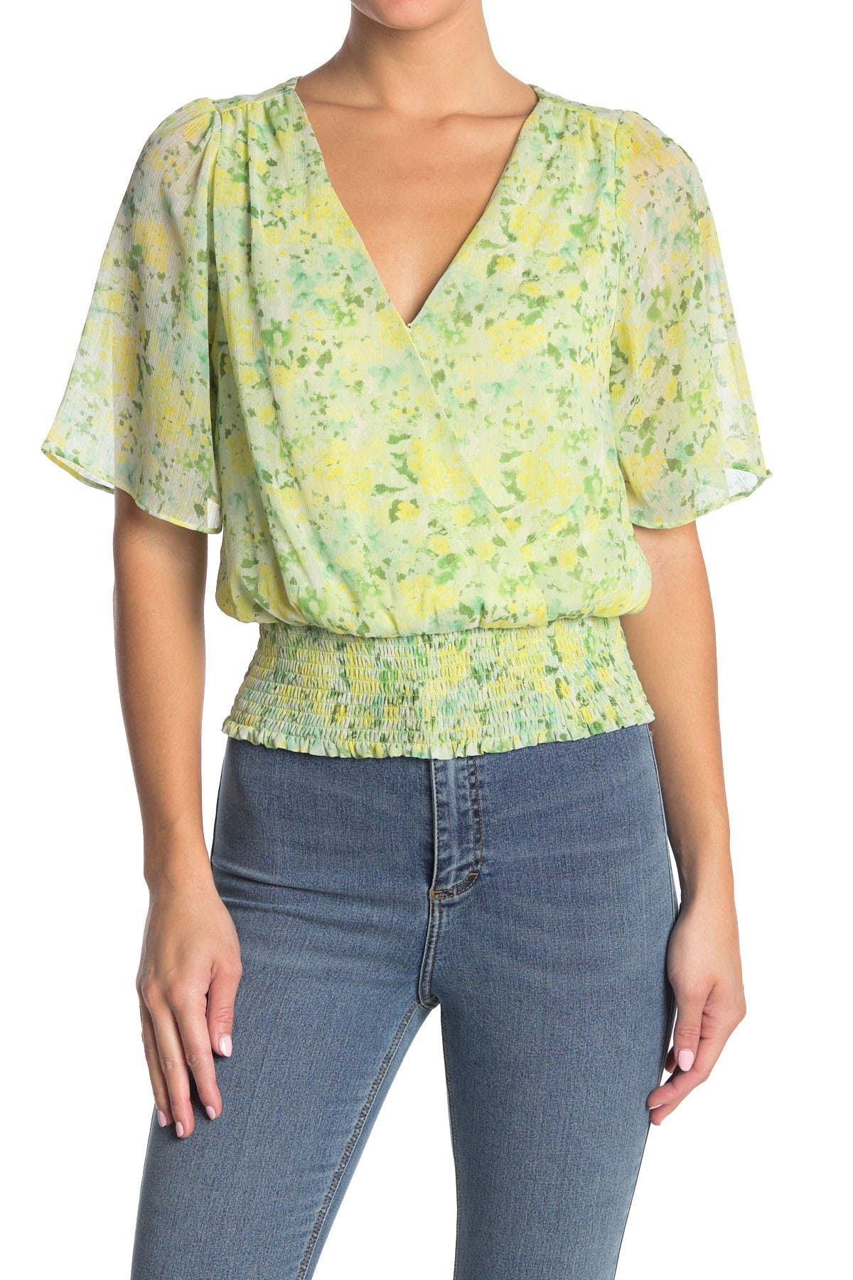 Image of Lush Surplice Flutter Sleeve Blouse