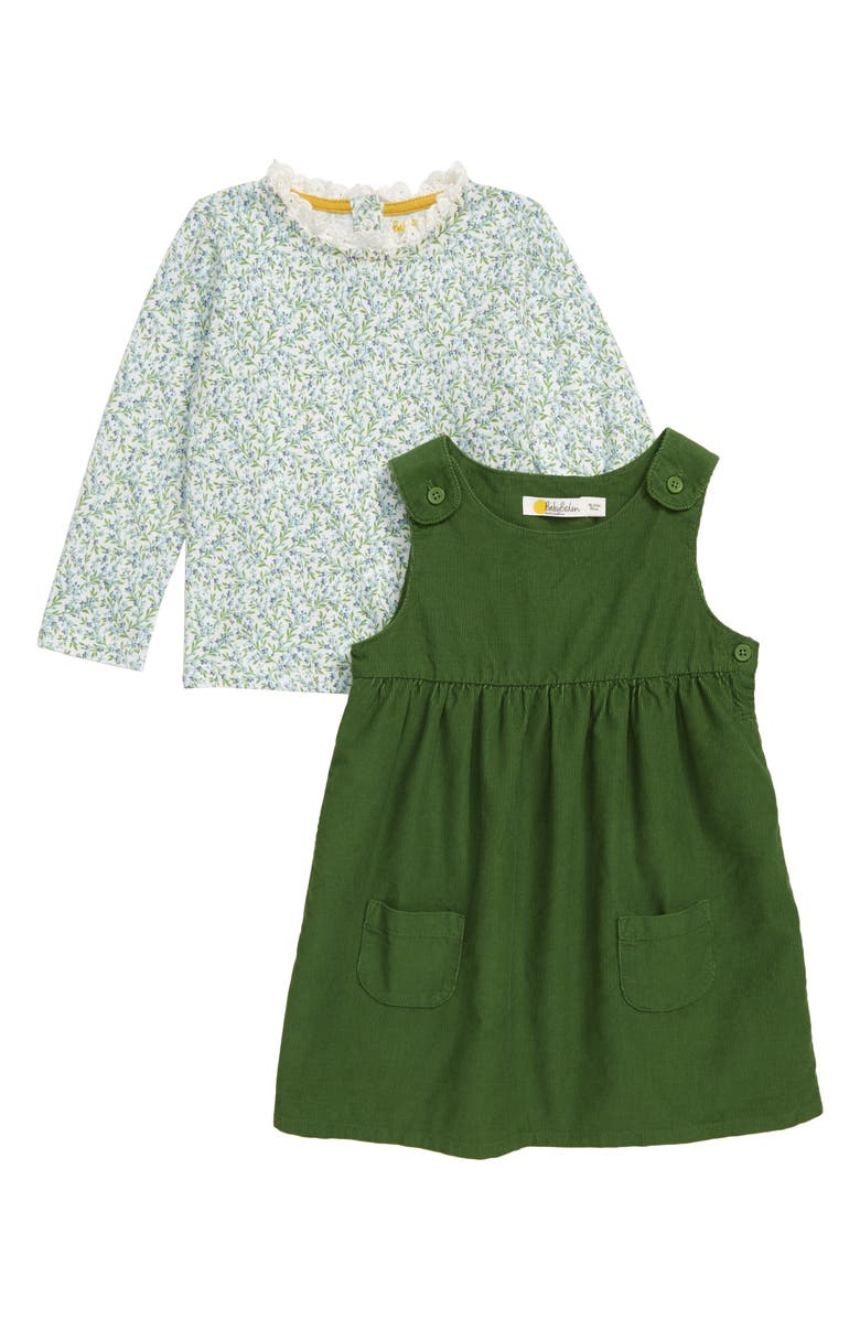 MINI BODEN Pinnie Floral Long Sleeve Top & Corduroy Dress Set, Main, color, 315