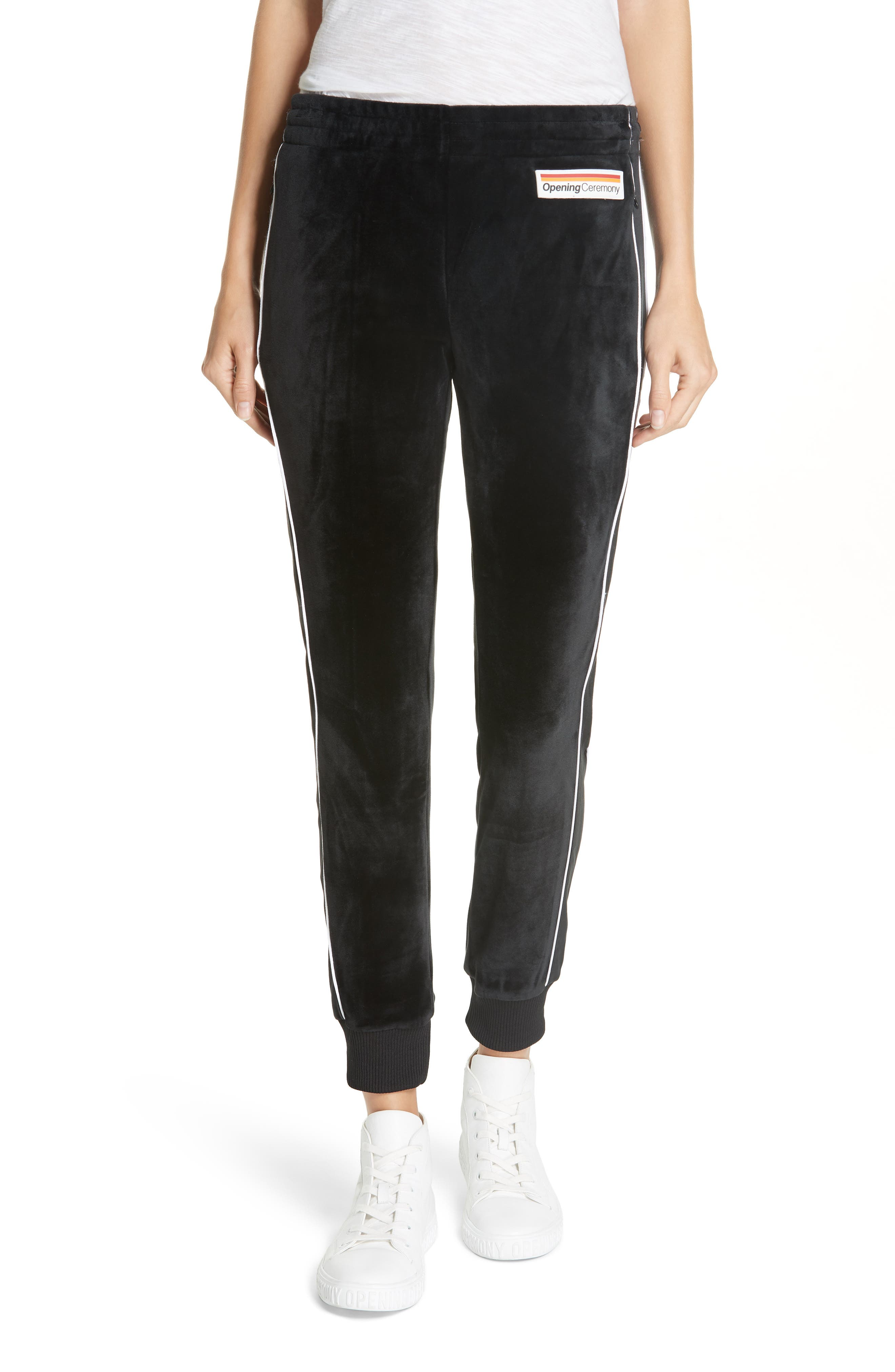 Velour Leggings, Main, color, BLACK