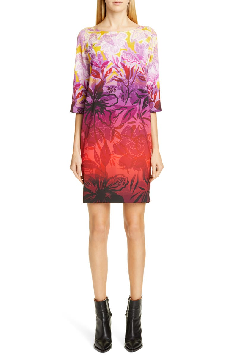 FUZZI Dégradé Floral Shift Minidress, Main, color, MULTICOLOR