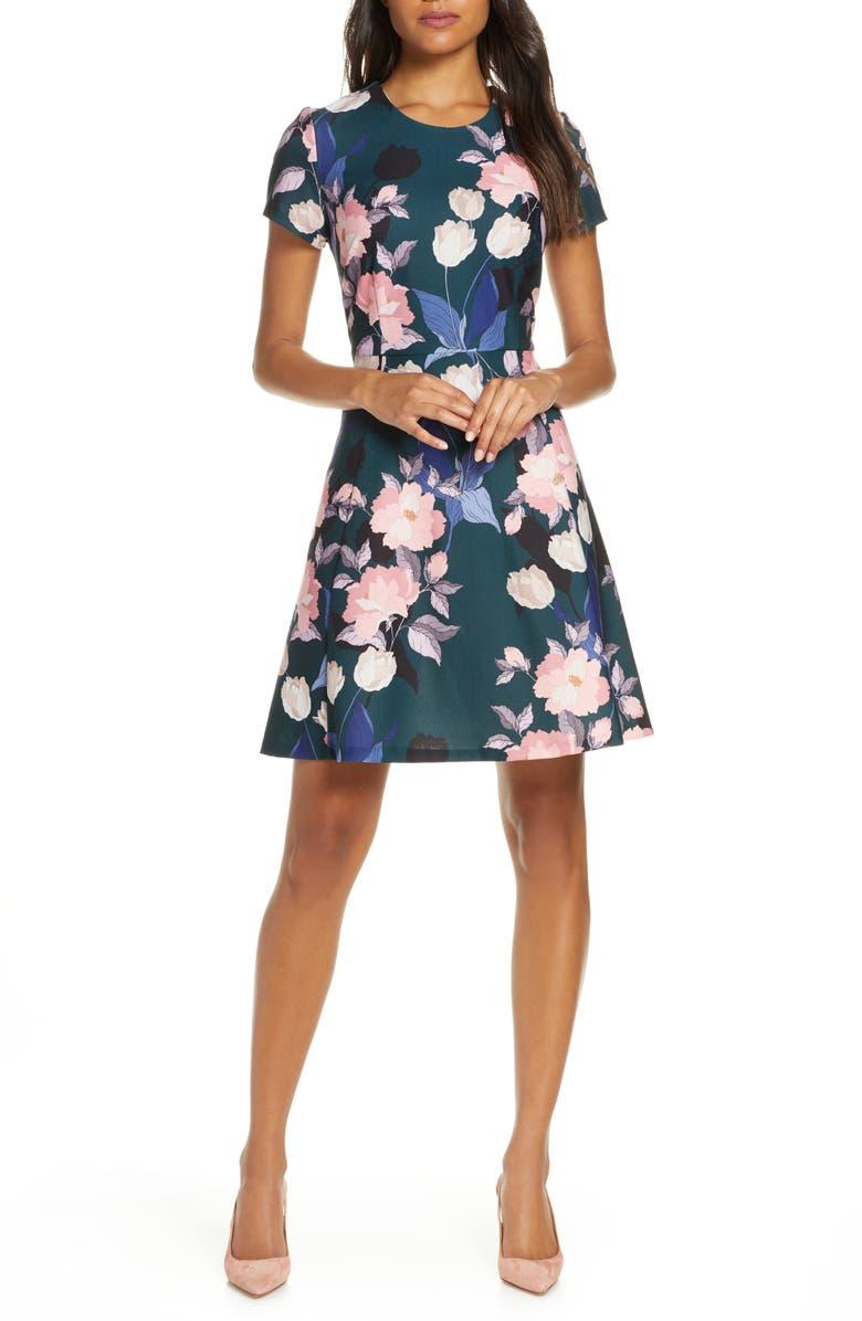 ELIZA J Floral Print Short Sleeve Fit & Flare Dress, Main, color, 302