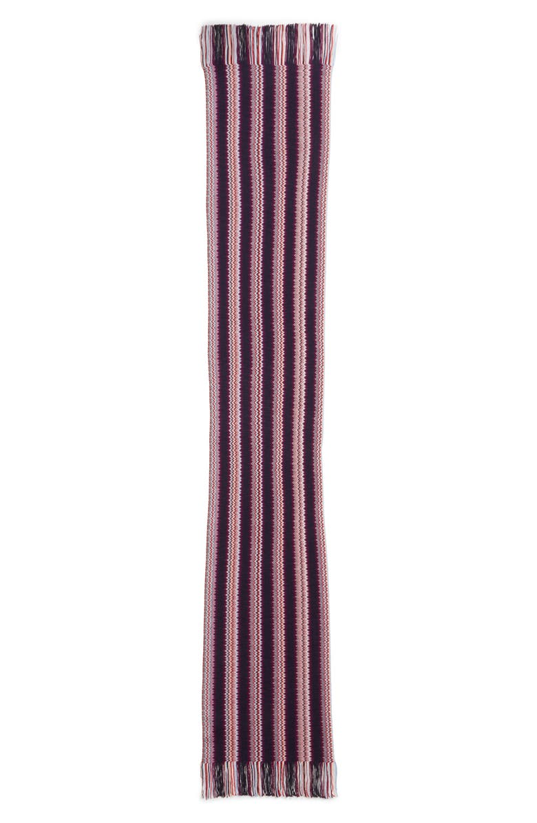 MISSONI Skinny Zigzag Stripe Wool Blend Scarf, Main, color, BERRY MULTI