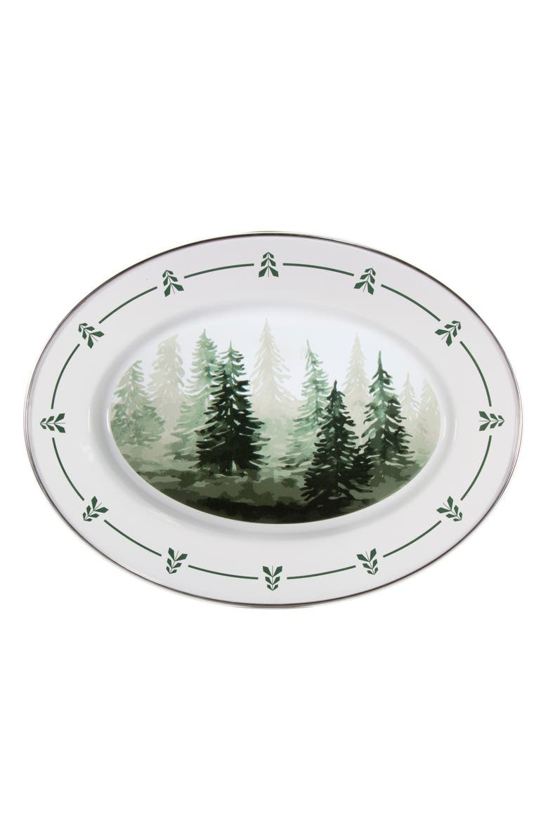 GOLDEN RABBIT Forest Trees Enamel Oval Platter, Main, color, WHITE