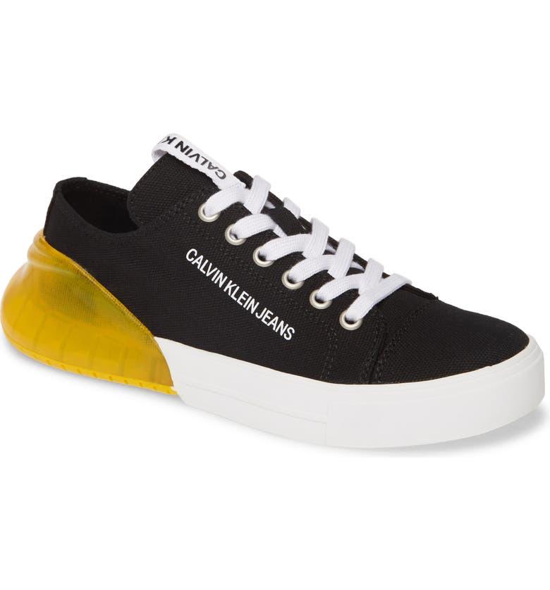 CALVIN KLEIN JEANS Myrtie Sneaker, Main, color, BLACK CANVAS