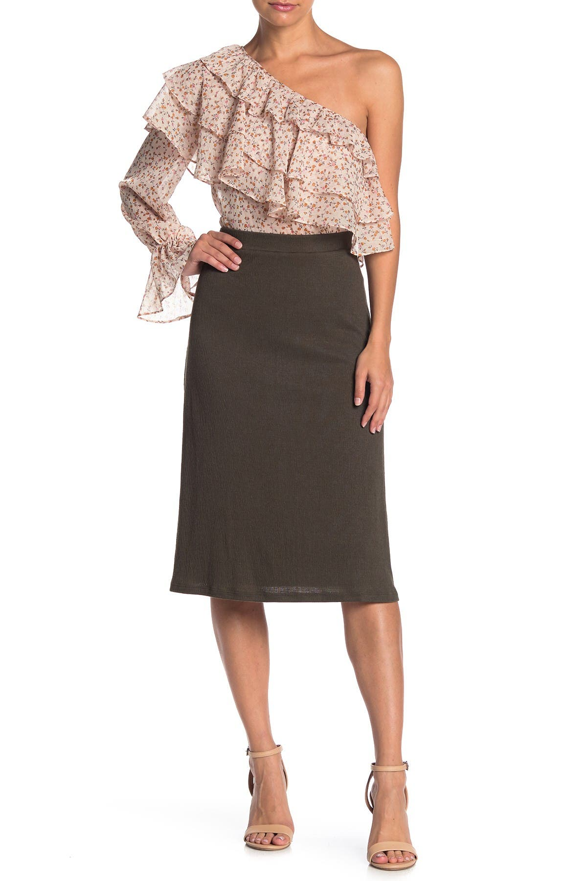 Image of 14th & Union Textured Knit Midi Skirt