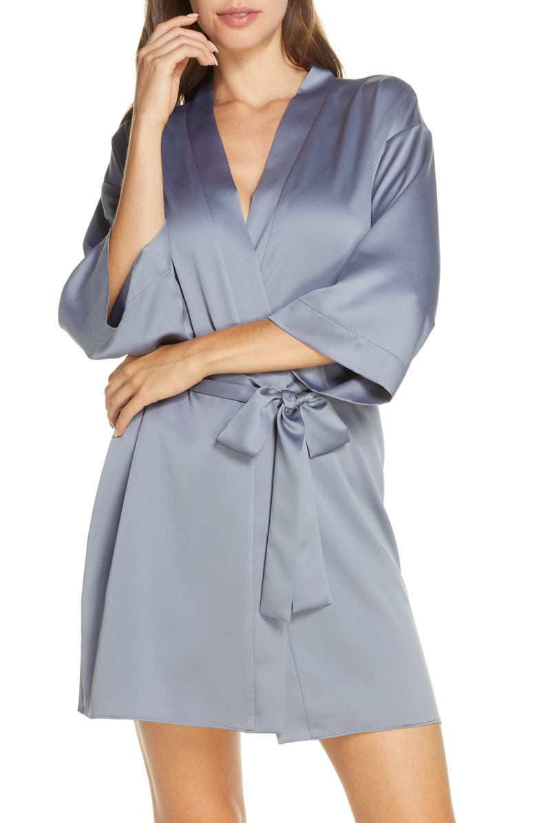 FLORA NIKROOZ Victoria Satin Short Robe, Main, color, STORM
