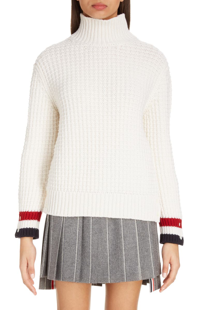 THOM BROWNE Waffle Knit Merino Wool Turtleneck Sweater, Main, color, WHITE