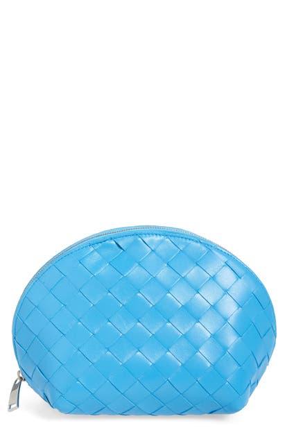 Bottega Veneta Large Intrecciato Leather Cosmetics Case In Swimming Pool