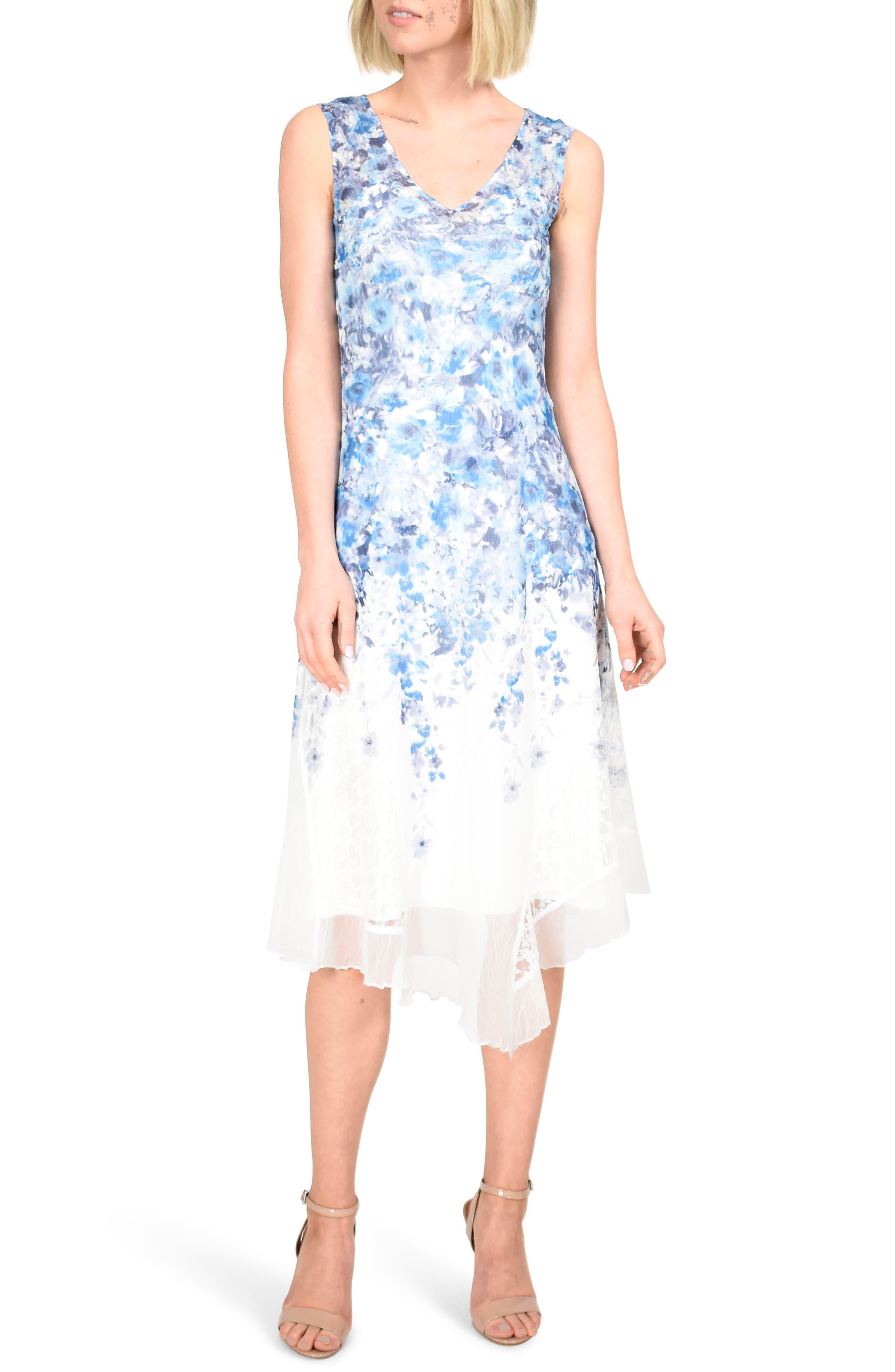 Komarov Asymmetrical Hem Charmeuse Dress With Shawl, Blue