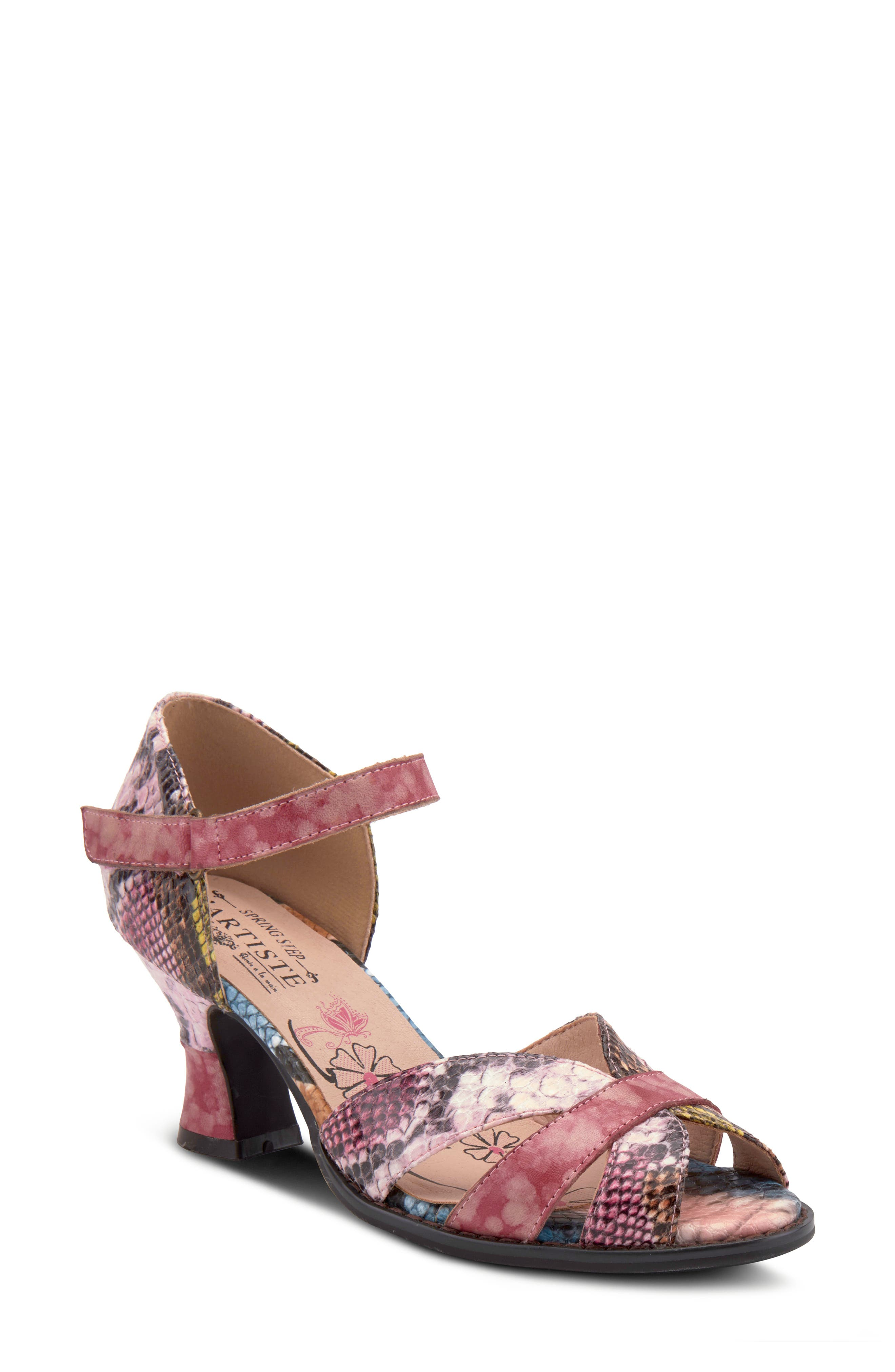 A flared statement heel supports this comfortably cushioned sandal made from hand-painted leather. Style Name:L\\\'Artiste Glamour Sandal (Women). Style Number: 6000085. Available in stores.