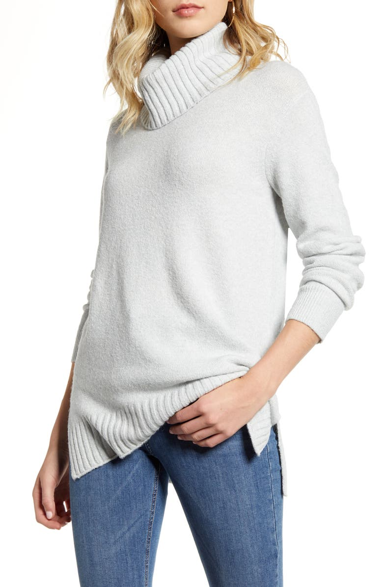 BP. Longline Turtleneck Sweater, Main, color, GREY QUIET HEATHER