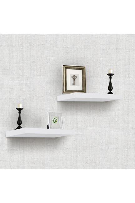 Image of Sorbus White Floating Rectangle Wall Shelf - Set of 2