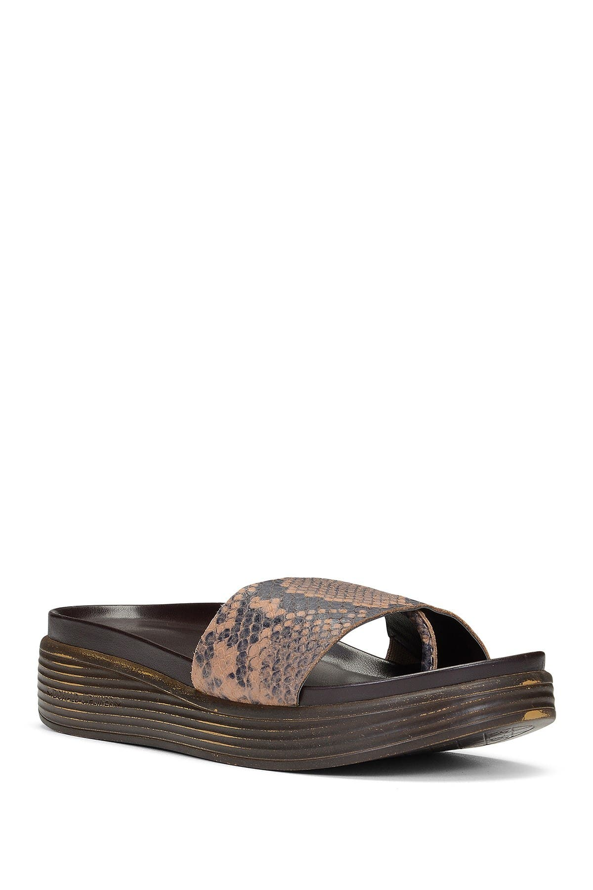 Image of Donald Pliner Fiji Low Wedge Leather Snakeskin Embossed Slide Sandal