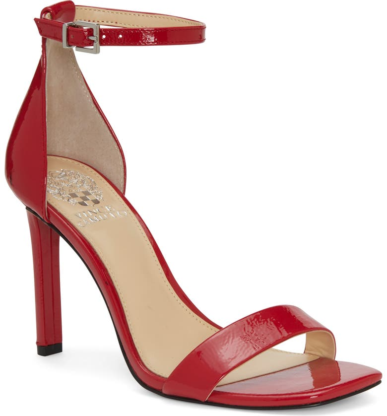 VINCE CAMUTO Lauralie Ankle Strap Sandal, Main, color, GLAMOUR RED PATENT LEATHER