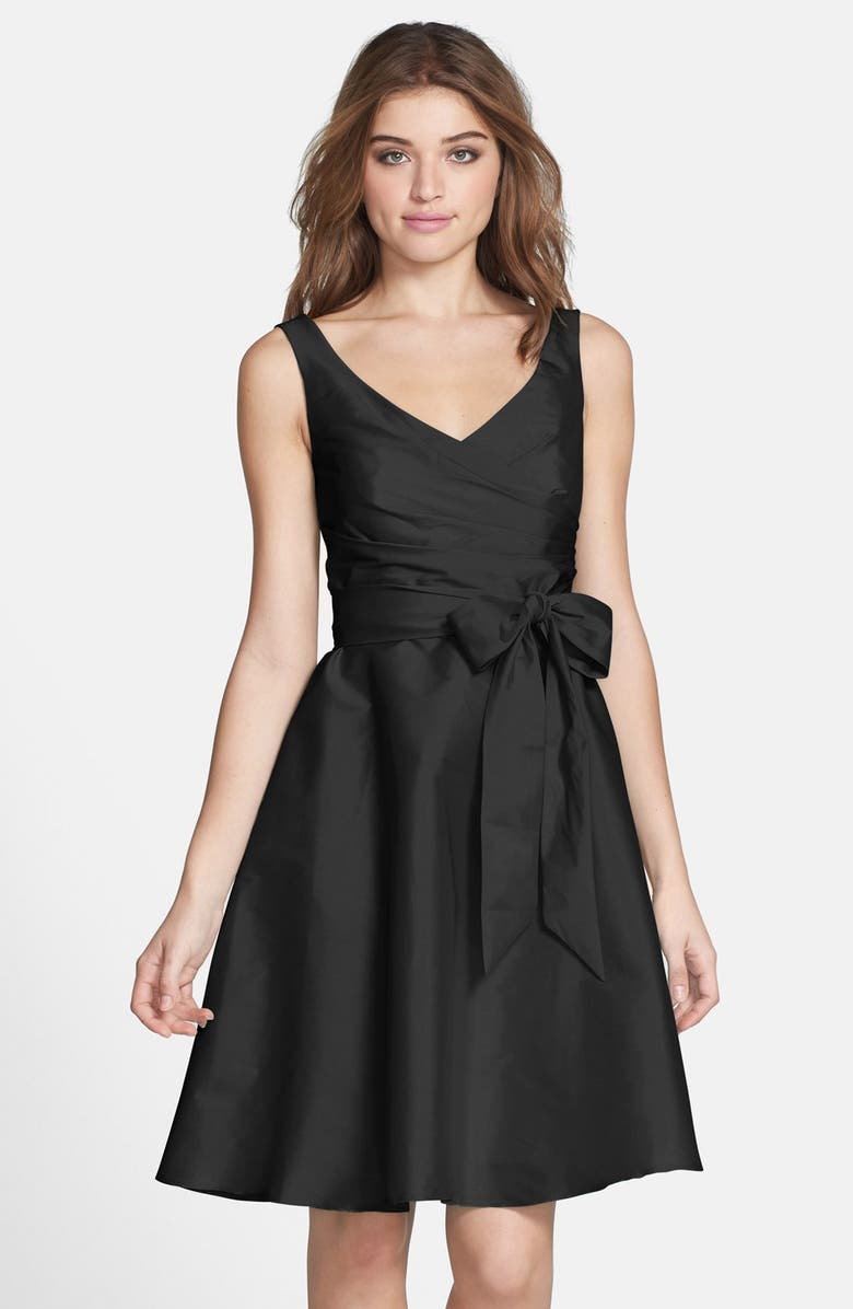 ALFRED SUNG Satin Fit & Flare Dress, Main, color, 001