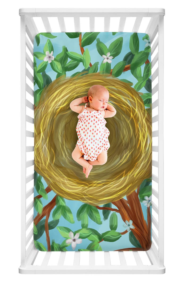LUVSY Nest Print Fitted Crib Sheet, Main, color, NEST