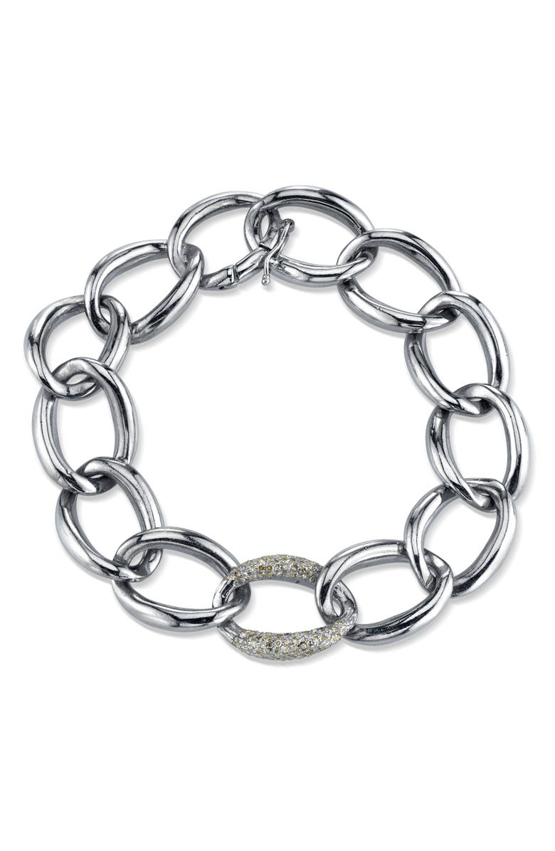 SHERYL LOWE London Sterling & Diamond Link Bracelet, Main, color, STERLING SILVER